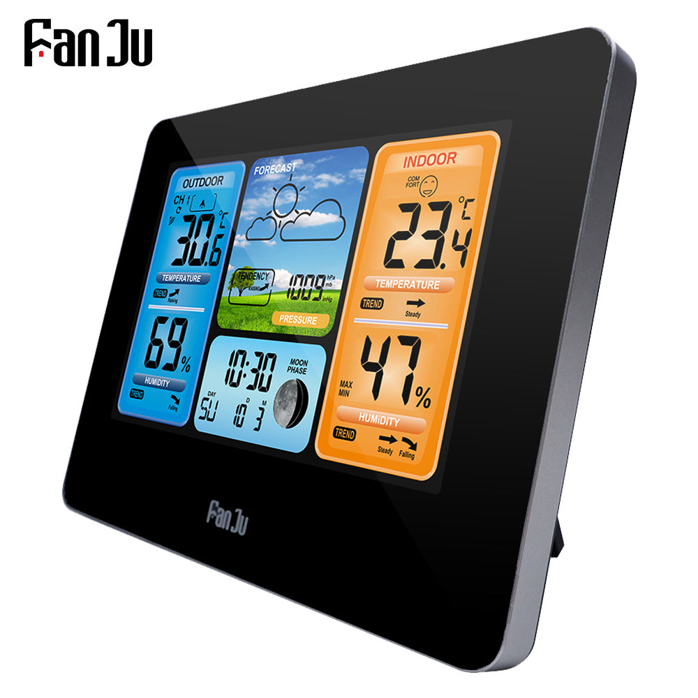 FanJu FJ3373B LCD Wireless Weather Station Alarm Clock Digital Thermometer Hygrometer Barometer Forecast Daily Alarm Wall Type - WowmeZone