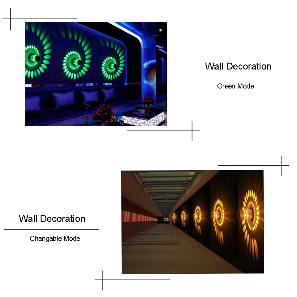 Led Wall Light Wall Lamp Spiral Effect Lights With Controller 110V/220V 3W Color For Modern KTV/Bar/ Decoration /Living Room HL - WowmeZone
