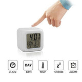 Drop shipping 2018 New 7 Colors LED Changing Digital Alarm Clock Desk Thermometer Night Glowing Cube LCD Clock Home Decor TSLM1 - WowmeZone