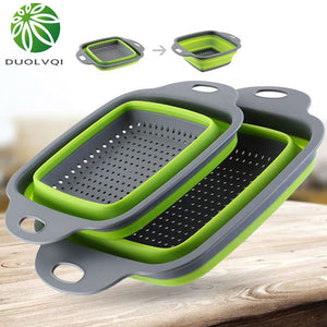 Duolvqi Foldable Fruit Vegetable Washing Basket Strainer Portabl Silicone Colander Collapsible Drainer With Handle Kitchen Tools - WowmeZone
