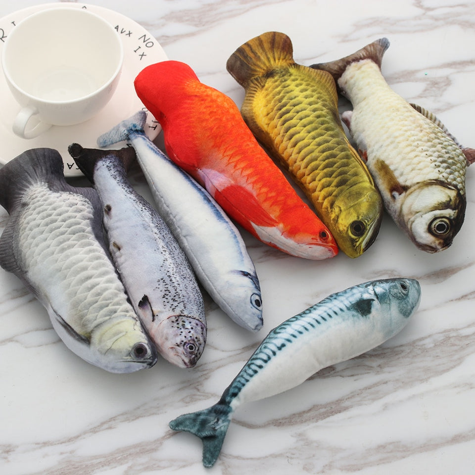 1 PC New Lovely Artificial Fish Plush Pet Cat Puppy Dog Toys Sleeping Cushion Fun Toy Cat Mint Catnip Toys Gadget - WowmeZone