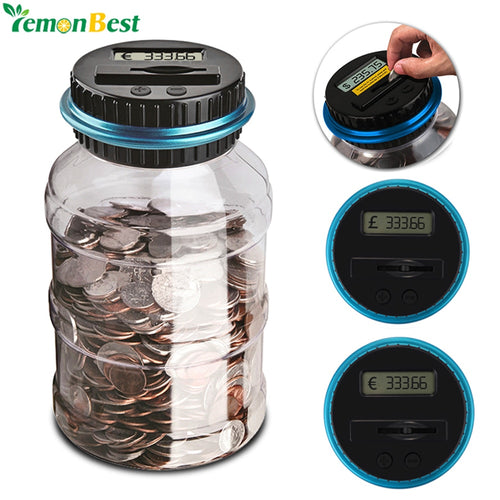 1.8L Piggy Bank Counter Coin Electronic Digital LCD Counting Coin Money Saving Box Jar Coins Storage Box For USD EURO GBP Money - WowmeZone
