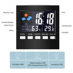 Voice Control LCD Screen Thermometer Clocks Indoor Humidity Monitor Electronic Digital Display Temperature Alarm Clock Calendar - WowmeZone