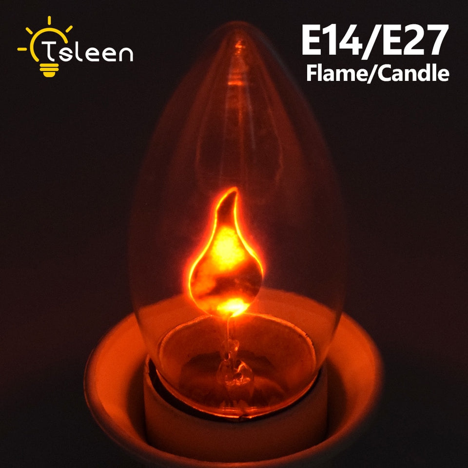 E14 E27 Retro LED Edison Light Bulb LED Flame Effect Fire Light Flickering Flame Lamp Simulated Party Christmas Decor AC220-240V - WowmeZone