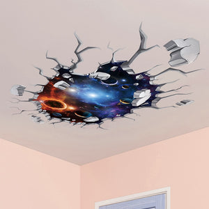 Outer Space 3D Visual Effect Ceiling Sticker PVC Material Universe Stars Wall Decals for Kids Room Decoration - WowmeZone