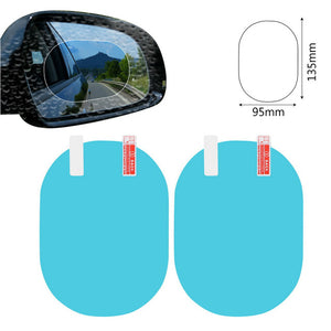 2PCS/Set Anti Fog Car Mirror Window Clear Film Anti-glare Car Rearview Mirror Protective Film Waterproof Rainproof Car Sticker - WowmeZone