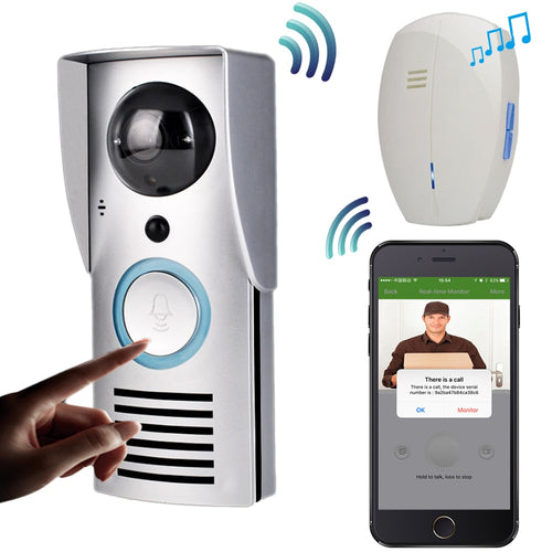 CUSAM WIFI 720P Video Doorbell Wireless Door Phone Intercom Monitor Smart Bell HD Camera PIR Motion Sensor Night Vision Unlock - WowmeZone
