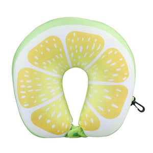 Fruit U Shaped Travel Pillow Nanoparticles Neck Pillow Watermelon Lemon Kiwi Orange Car Pillows Soft Cushion Home Textile - WowmeZone