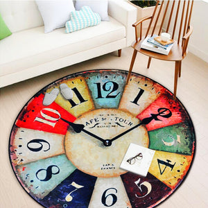 Nordic Round Carpet Vintage Wall Clock Living Room Bedroom Bathroom Christmas Decoration Rug Anti-Slip Outdoor Crawling Play Mat - WowmeZone