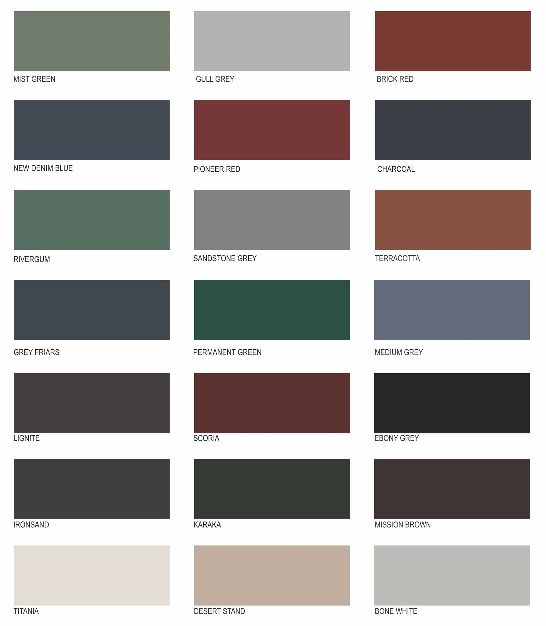Paint Tech Roof Colours