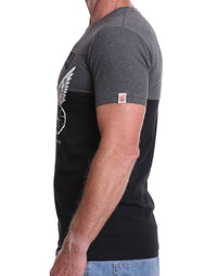 Side view of men's charcoal/black 7th Day Spinner crew neck cycling t-shirt