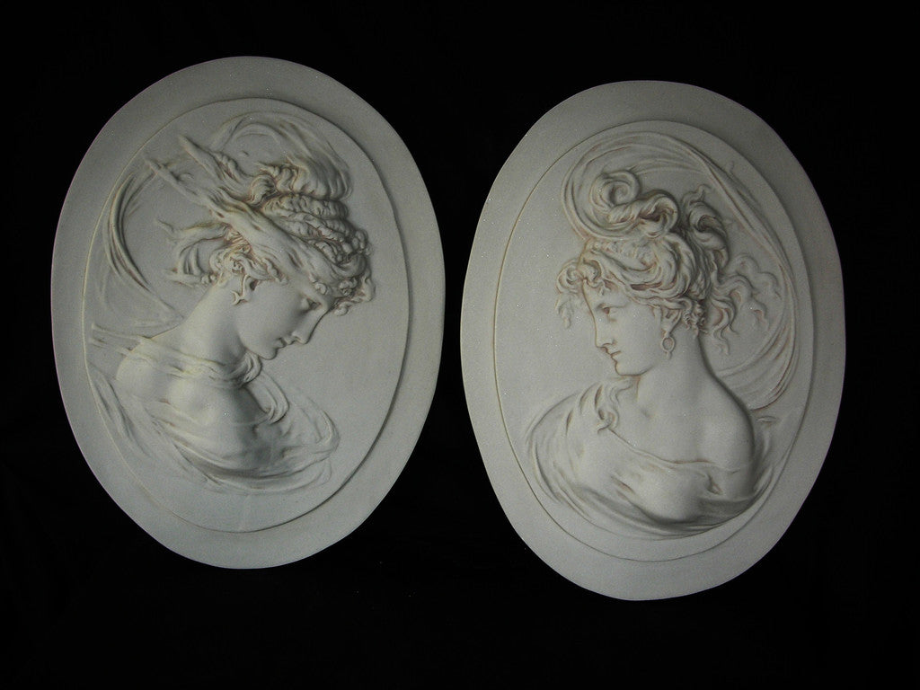 Lady Head Oval Cameo plaques pair