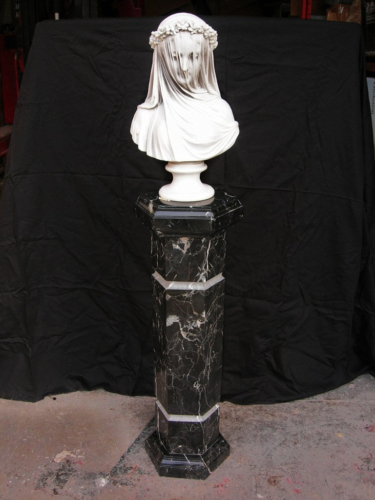 Black Marguina Marble column 70 cm