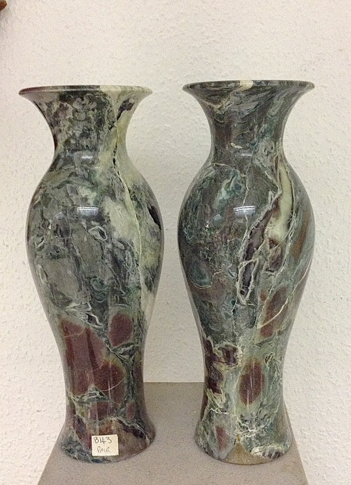 Emerald Platino Marble Vase A Pair.