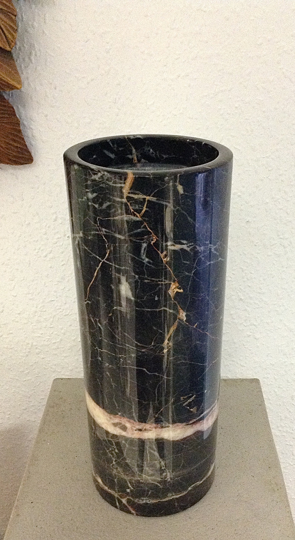 Black Ice Marble Pencil Vase
