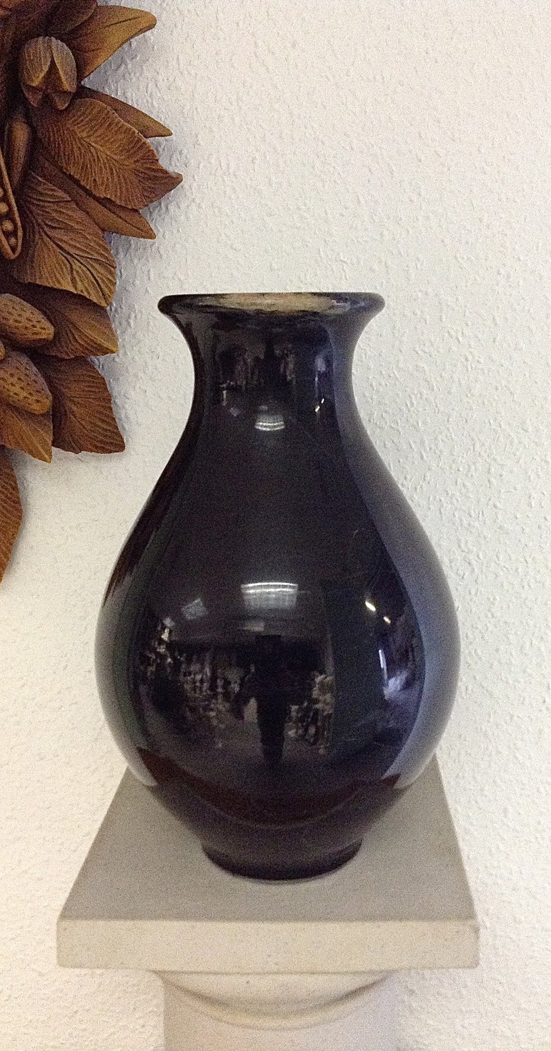 Ancient Black Marble Fat Round With Neck Vase