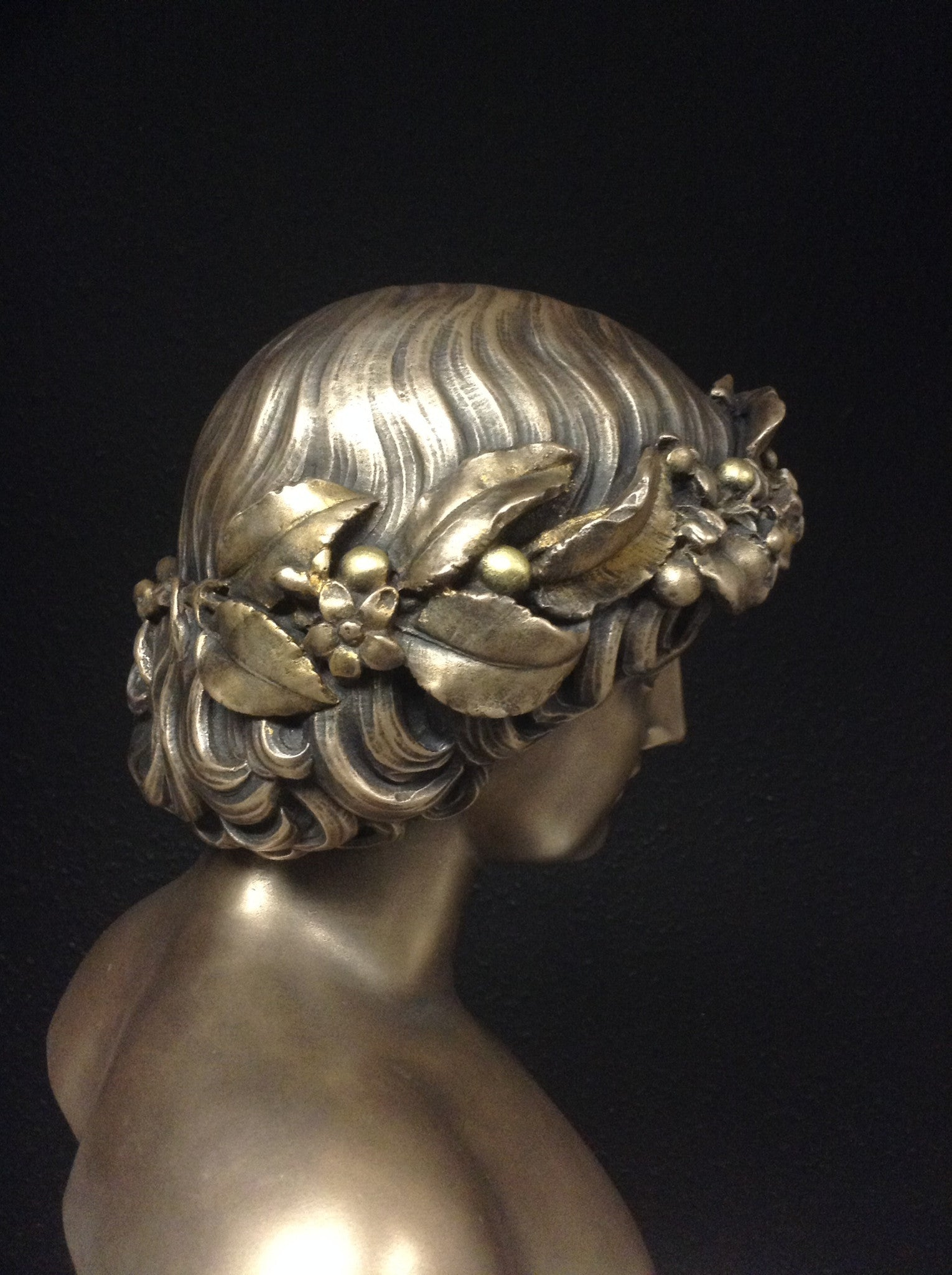 Bronze Antinous With Worn Guilt Bacchus Wreath