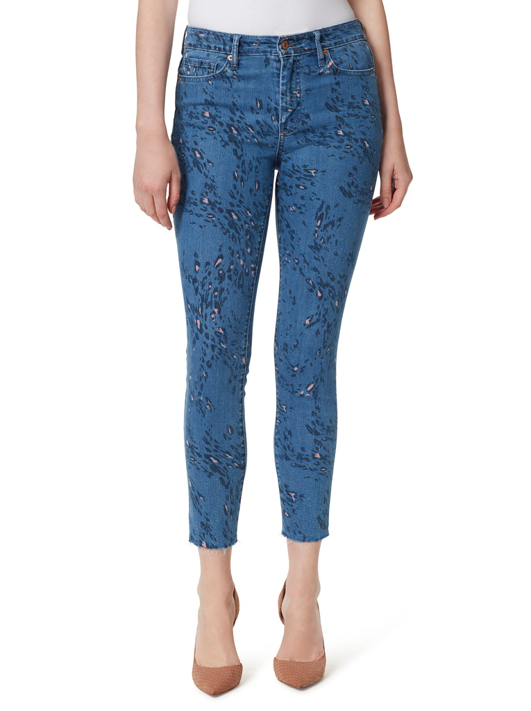 Adored High Rise Ankle Skinny Jeans in Whirling Cheetah