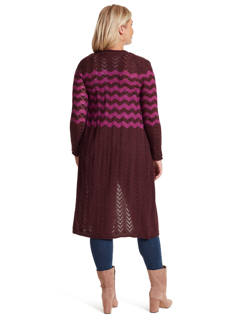 Jolie Stripe Duster in Winetasting
