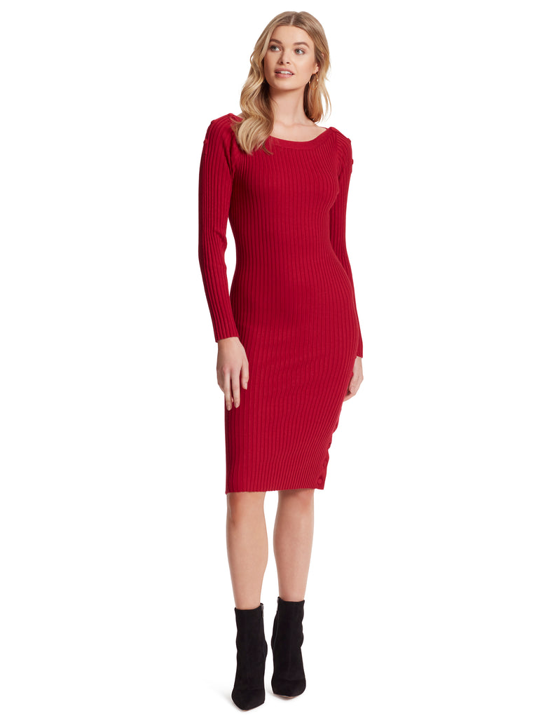 Madeleine Sweater Dress in Rio Red