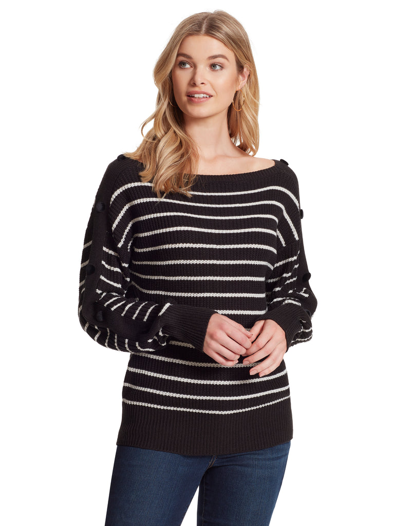 Adley Sweater in Black & Gardenia Stripe