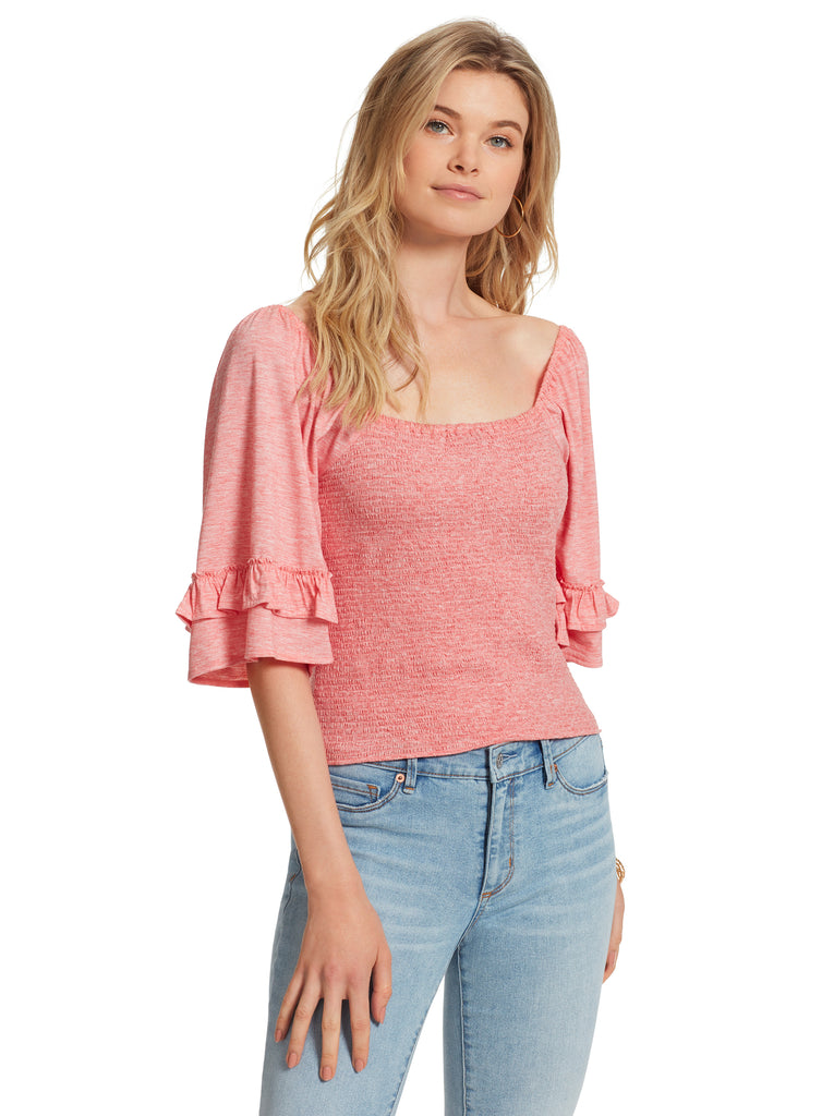 Sylvia Smocked Top in Rose