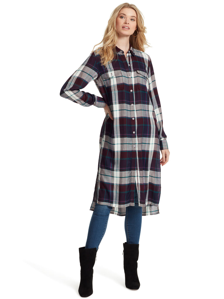 Lori Duster Shirt in Nerine Plaid