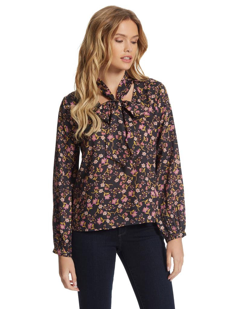 Tomkin Blouse in Black Blooms