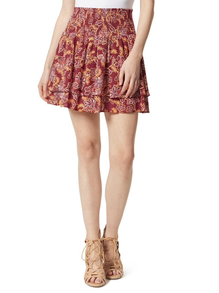 Veronica Skort in Red Dahlia Moroccan Blooms