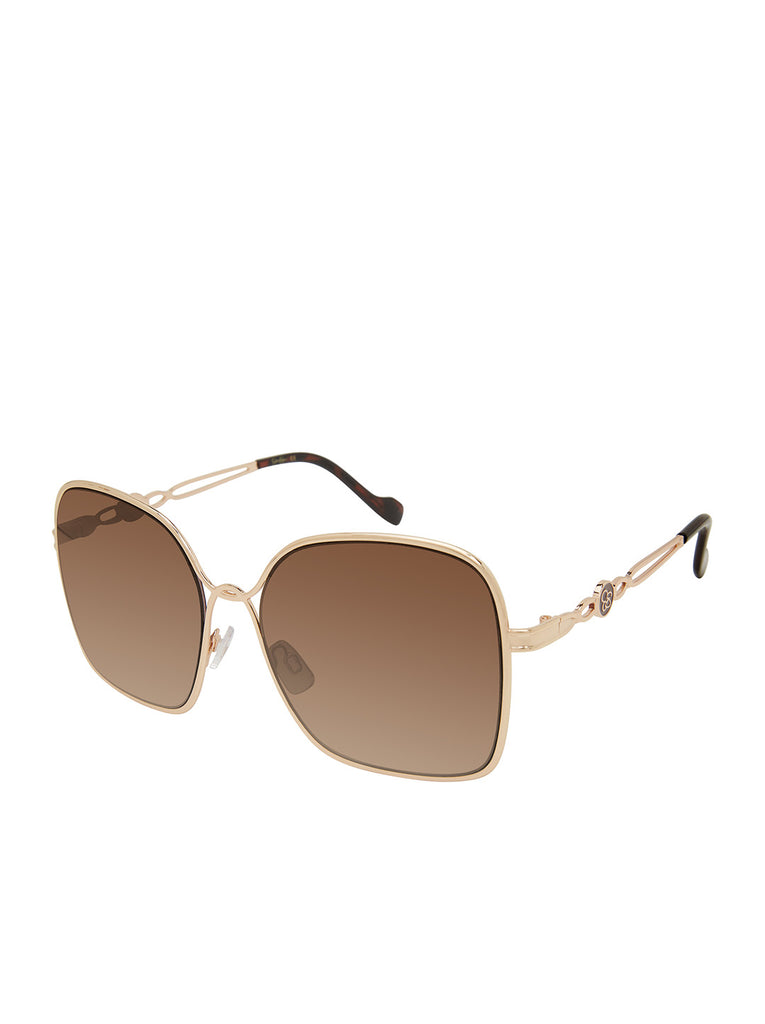 Fashionable Metal Square Sunglasses in Gold & Tortoise