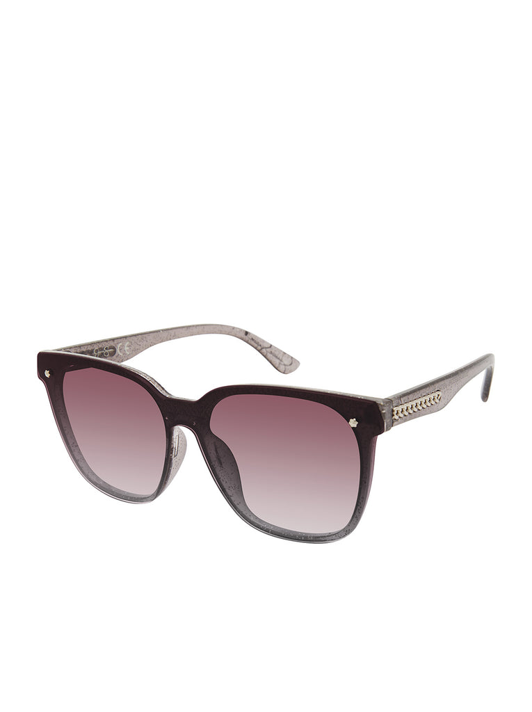 Retro Rectangular Sunglasses in Smoke Glitter