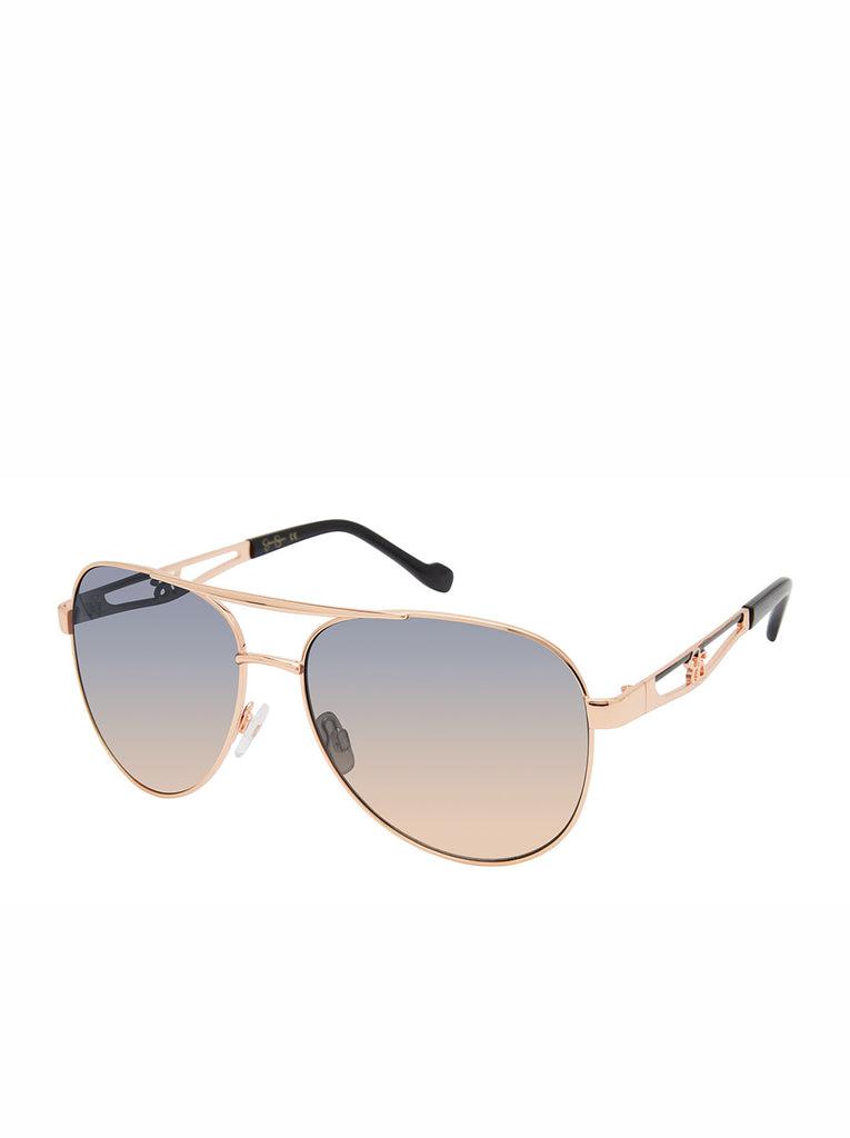 Classic Metal Vented Temple Aviator Sunglasses in Rose Gold & Black