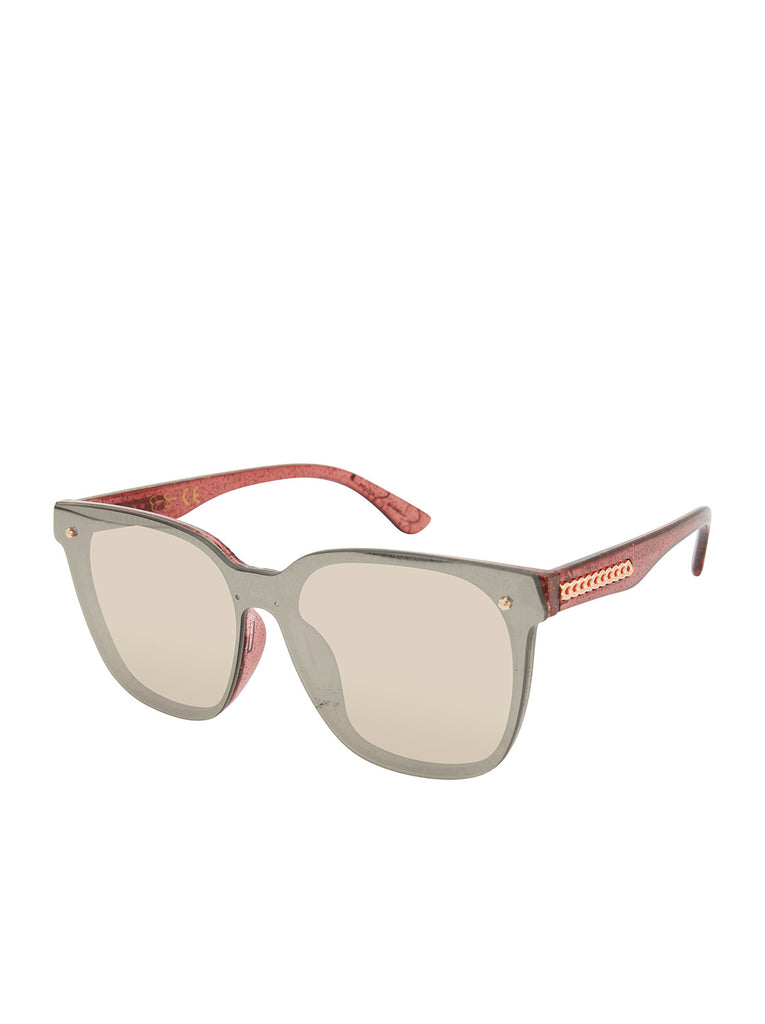 Retro Rectangular Sunglasses in Rose Glitter