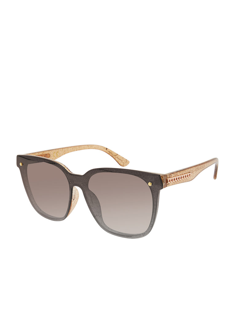 Retro Rectangular Sunglasses in Brown Glitter