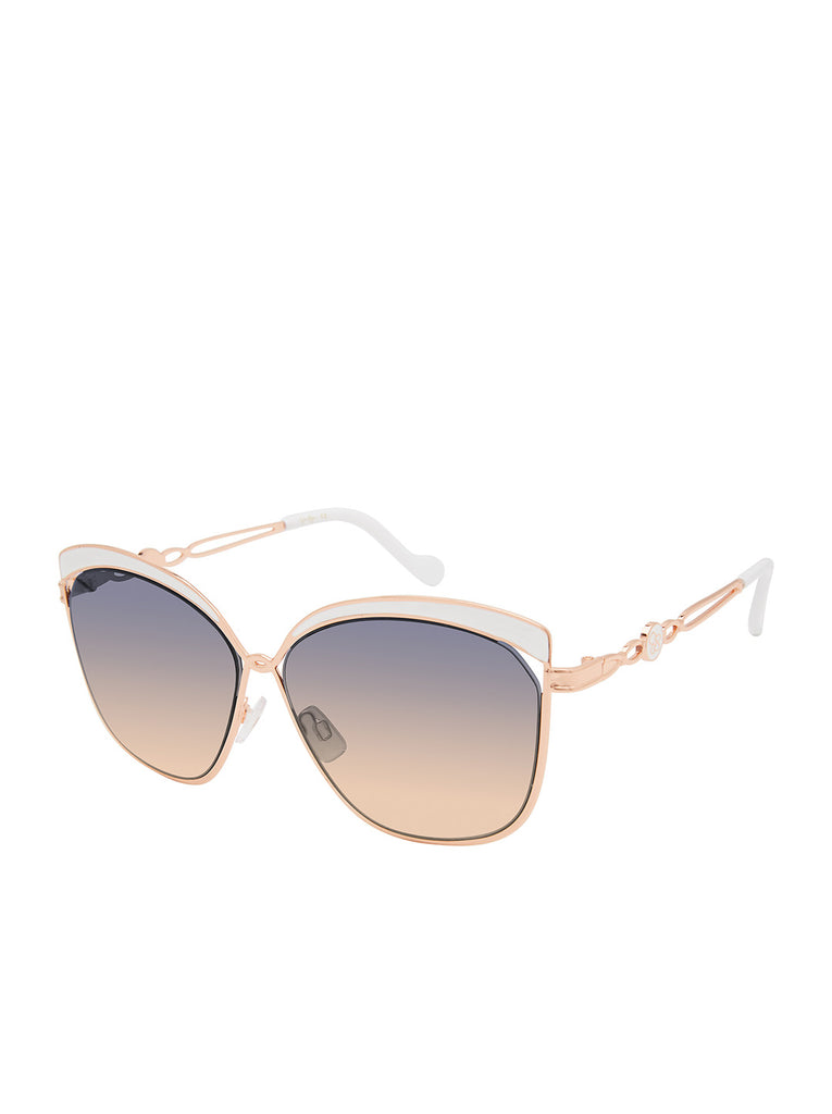 Trendy Metal Cat-Eye Sunglasses in Rose Gold & White