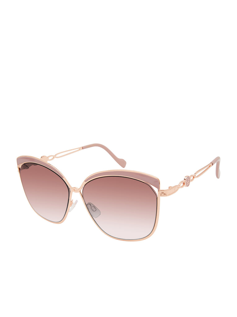 Trendy Metal Cat-Eye Sunglasses in Rose Gold & Rose