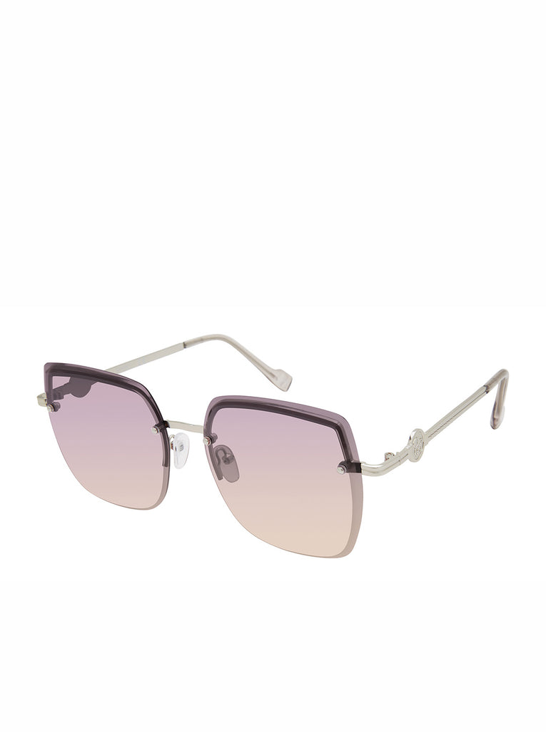 Modern Metal Rectangular Sunglasses in Sliver & Grey