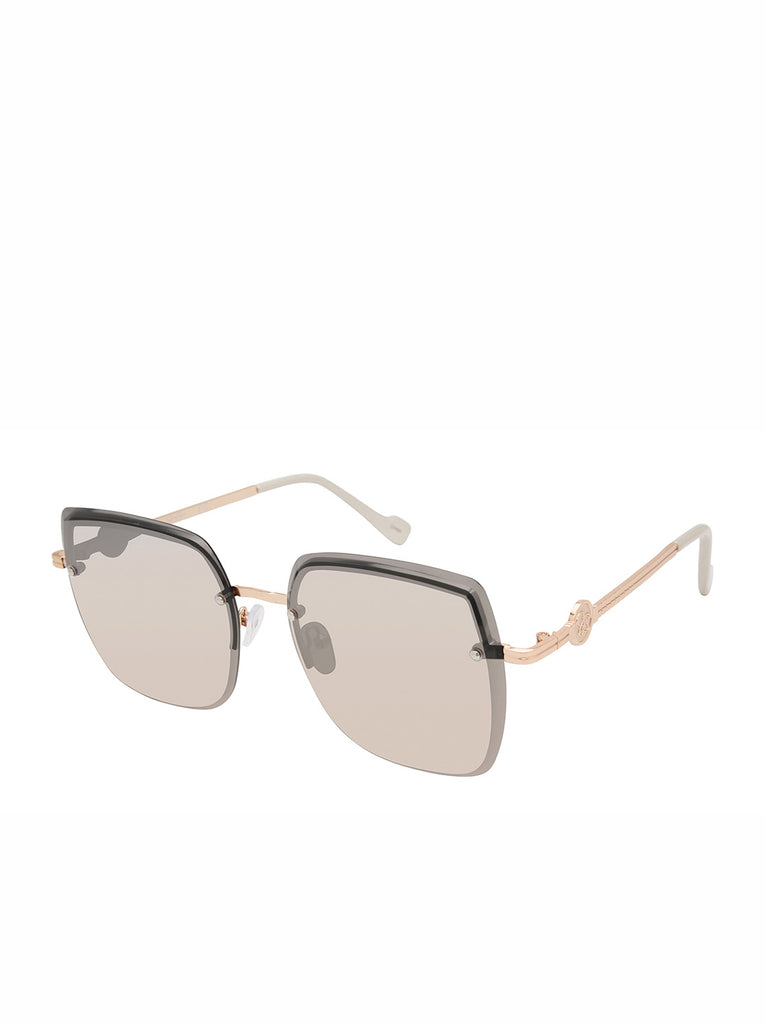 Modern Metal Rectangular Sunglasses in Rose Gold