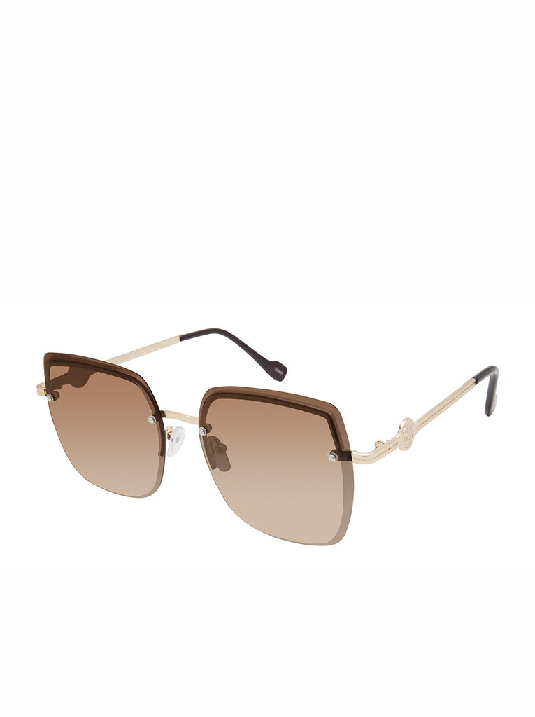 Modern Metal Rectangular Sunglasses in Gold & Brown