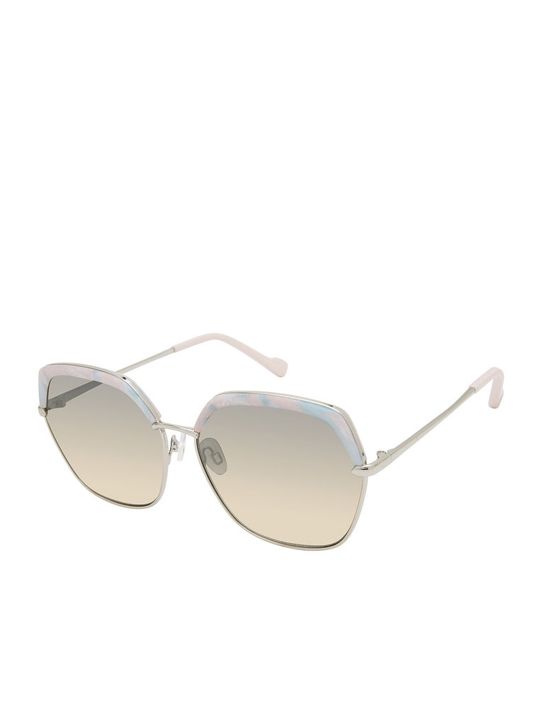 Trendy Geometric Glam Sunglasses in Silver & Marble