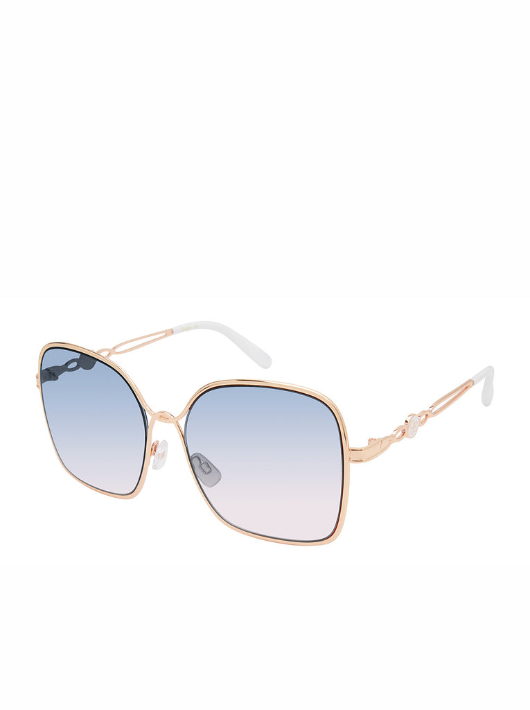 Fashionable Metal Square Sunglasses in Rose Gold & White