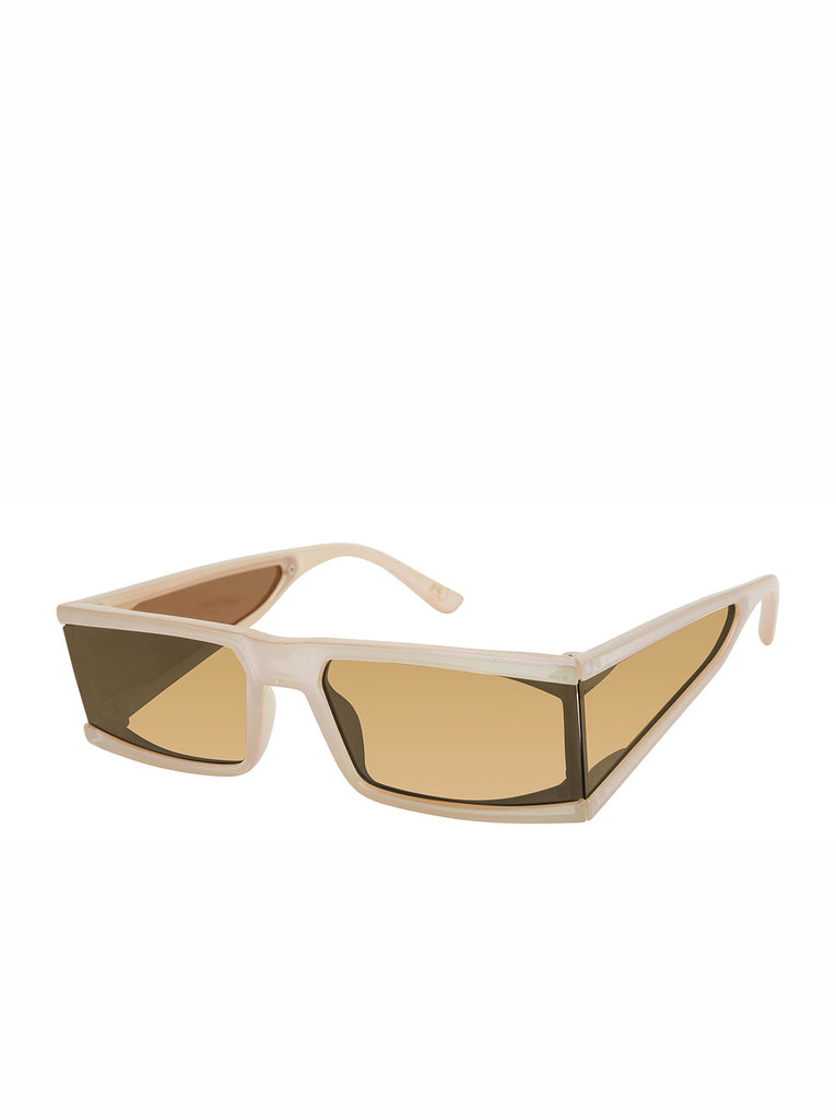 Sleek Modern Rectangular Sunglasses in Tan
