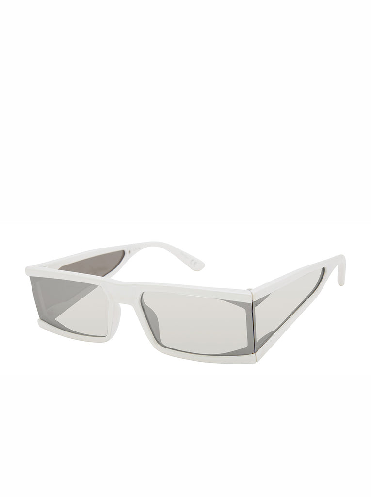 Sleek Modern Rectangular Sunglasses in White