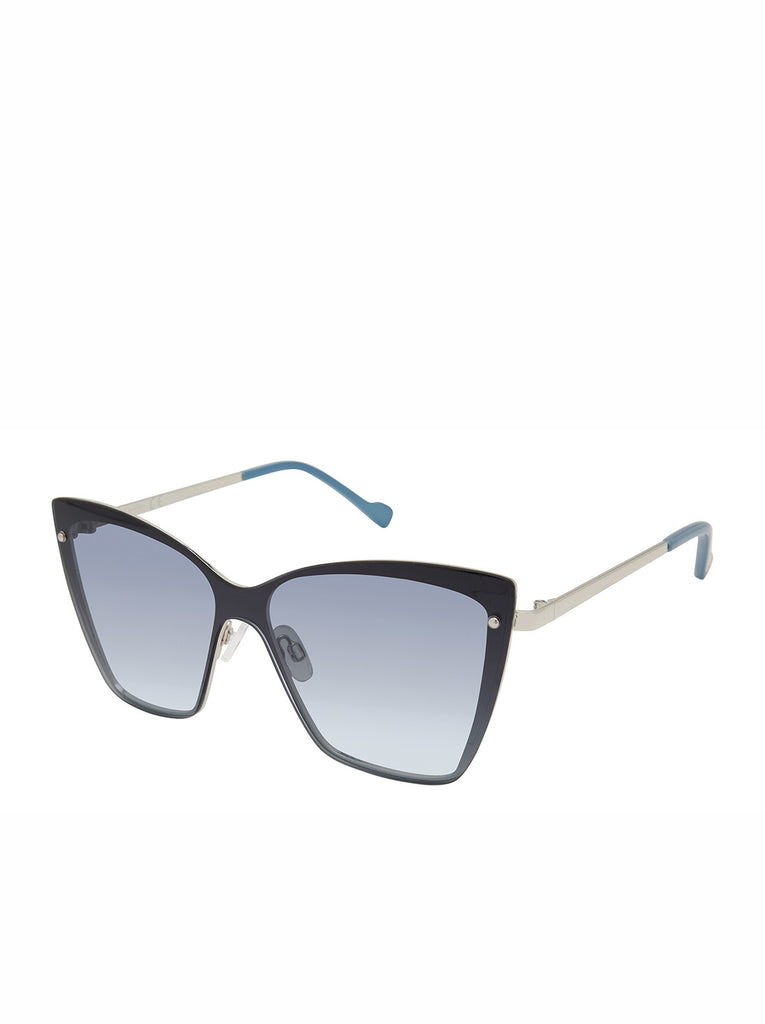 Trendy Metal Cat-Eye Shield Sunglasses in Sliver & Blue