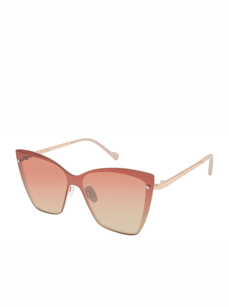 Trendy Metal Cat-Eye Shield Sunglasses in Rose Gold