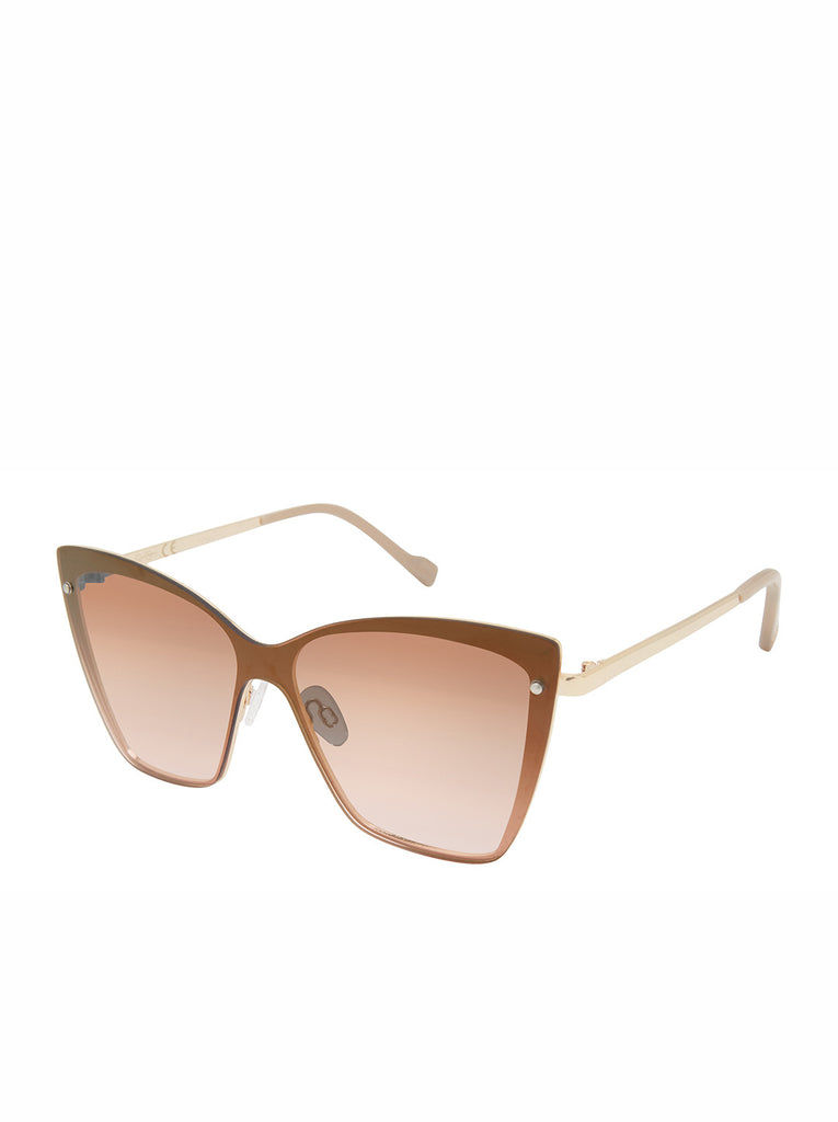 Trendy Metal Cat-Eye Shield Sunglasses in Gold & Nude