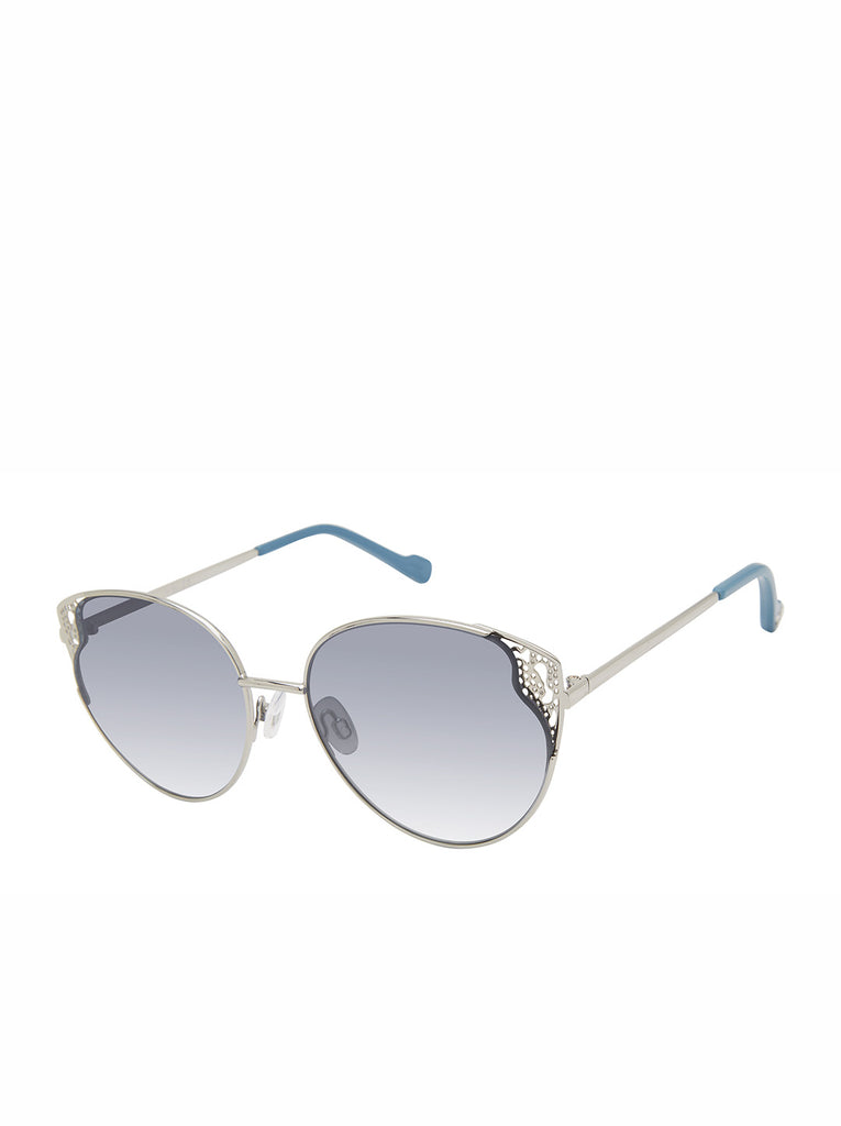 Flirty Metal Cat-Eye Sunglasses in Silver & Blue
