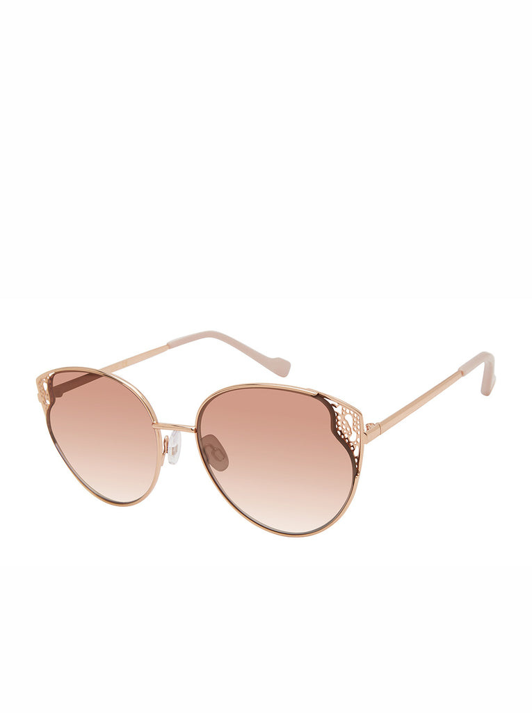 Flirty Metal Cat-Eye Sunglasses in Rose Gold