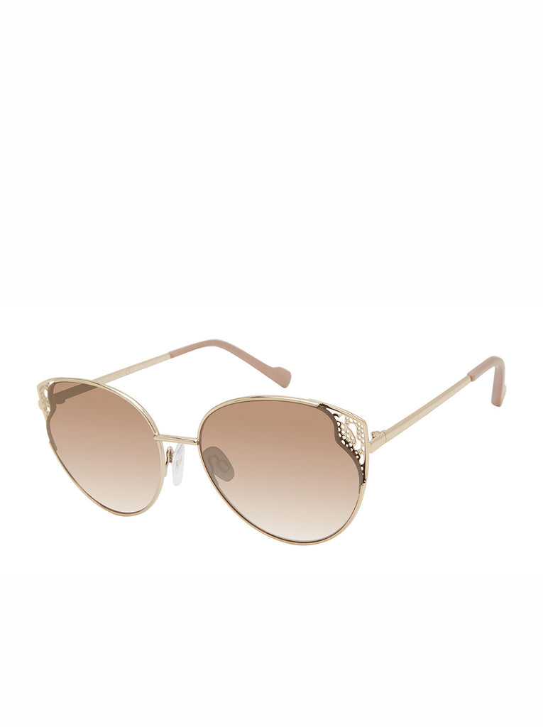 Flirty Metal Cat-Eye Sunglasses in Gold & Nude