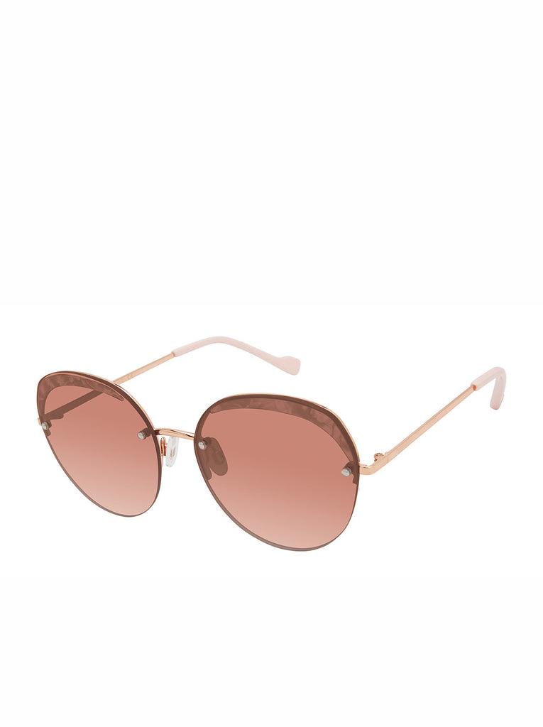 Trendy Metal Round Sunglasses in Rose Gold